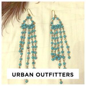 UO Turquoise dangling chandelier beaded earrings